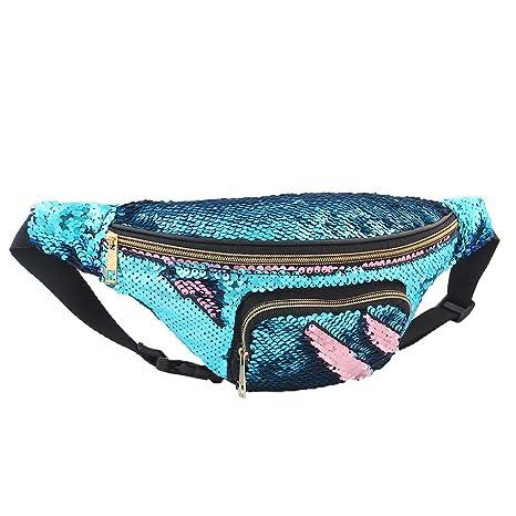 f370461dfc0c Play Tailor Mermaid Sequin Fanny Pack for Women Flip Sequin Waist ...