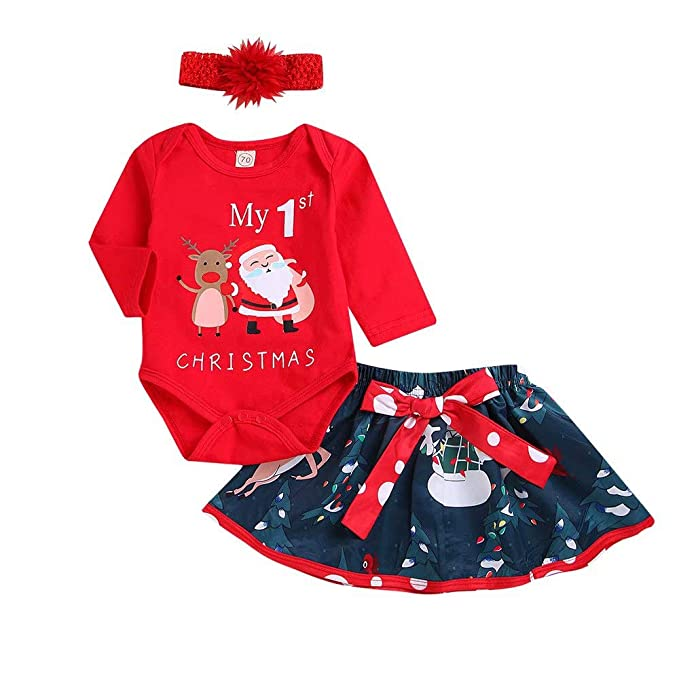 ad2defd46c63a ❤️ My 1st Christmas Baby Girl Letter Romper Tops Deer Tutu Skirt Outfit Set