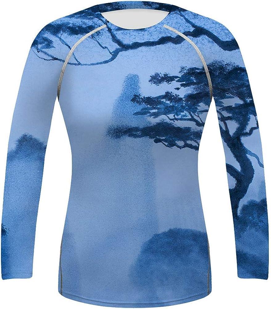 O2TEE Womens Fantasy Long Sleeve Basic Skins BJJ Rash Guard Athletic Tops S-XXL