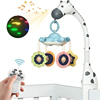TUMAMA Remote Control Baby Crib Mobiles with Projection Lighting and Music for Boys and Girls,Volume Up or Down,Auto…