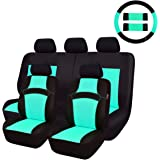 CAR PASS Rainbow Universal Fit Car Seat Cover -100% Breathable with 5mm Composite Sponge Inside,Airbag Compatible(14PCS, Mint Blue)