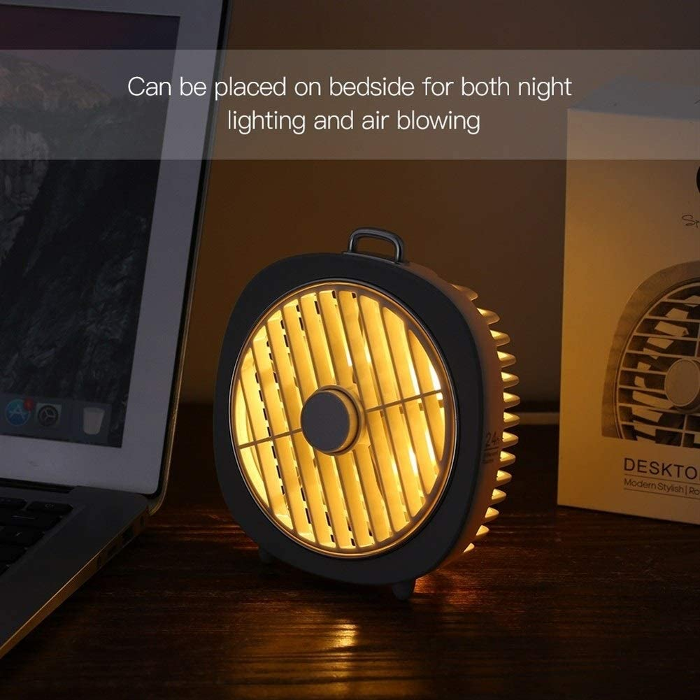 Air Cooler Mini USB Table Fan 3 Speeds 180/° Wind Direction with Night Light Desktop Fan for Office Home Bedroom Color : Black