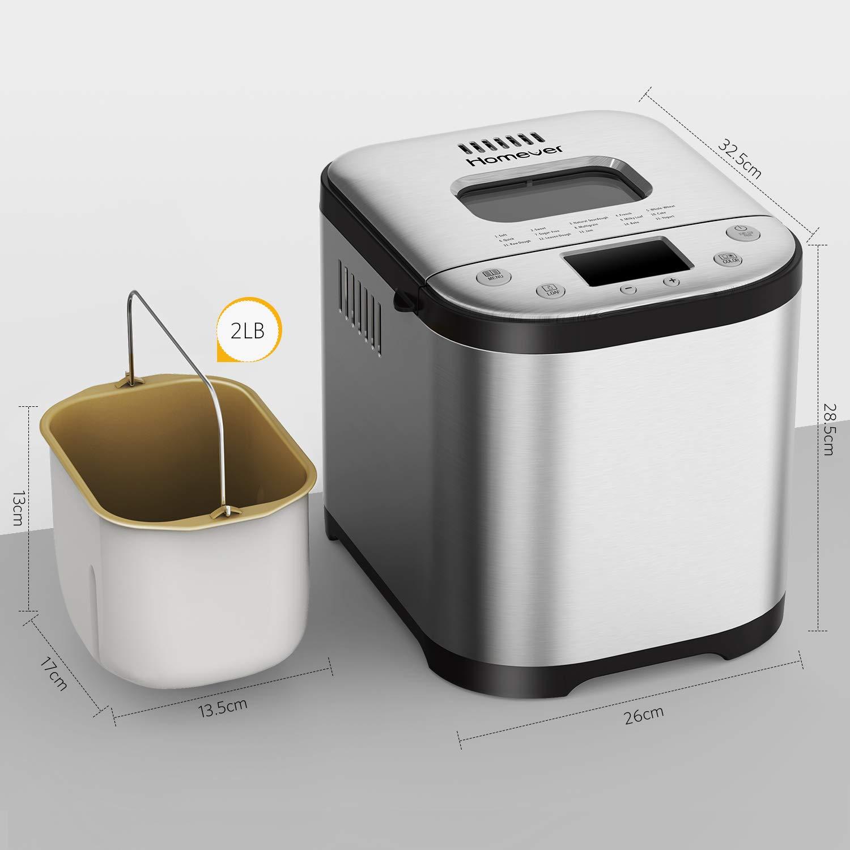 Panificadora Automática 710W Panificadora programable, Homever Panificadora Digital con con 15 Programas(2L, 3 Tamaños y Colores de Pan, Temporizador ...