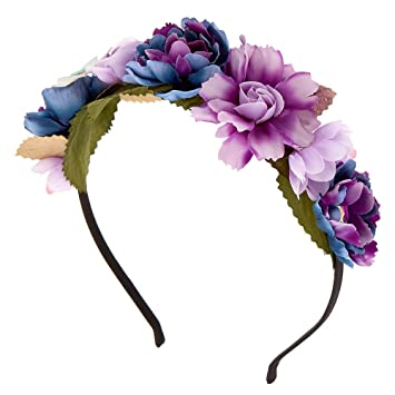 Amazon.com  Claire s Girl s Metallic Galaxy Flower Crown Headband ... 12f04699768