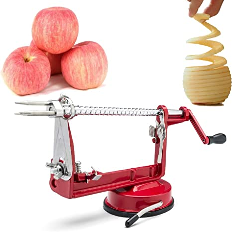Apple Peeler And Corer,Table Top Apple Potato Peeler Corer Slicer Suction Base With Clamp,Stainless Steel Hand-Cranking Durable Heavy Duty Apple Peeler Red