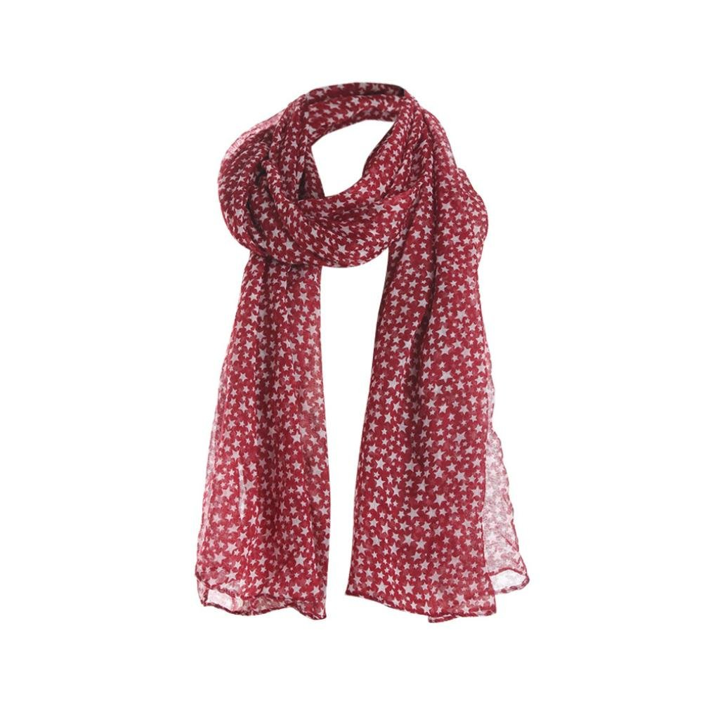 Women Scarfs and Wraps - BSGSH Lightweight Star Print Scarves Shawl Wrap for Women (Red)