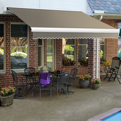 Awntech 16-Feet Key West Full-Cassette Manual Retractable Awning, 120-Inch Projection, Taupe