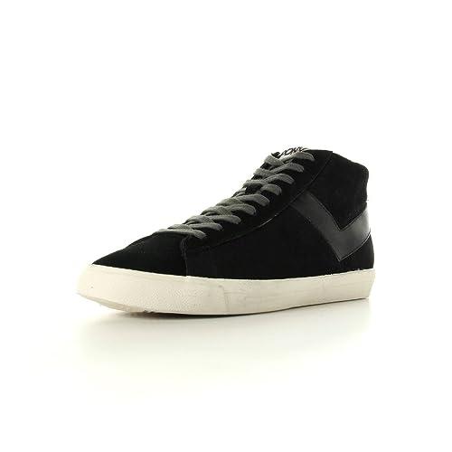 Pony Topstar suede hi - Zapatillas de deporte de cuero para hombre negro Noir, blanc et gris 42: Amazon.es: Zapatos y complementos