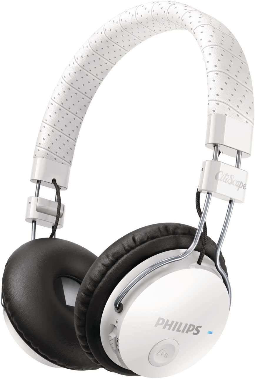 Philips SHB8000WT CitiScape Foldie Wireless Bluetooth Headset Noise Isolating On-Ear Headphones (SHB8000 White)