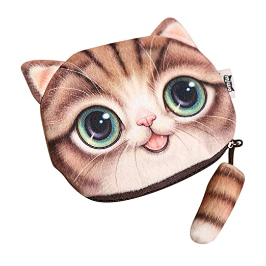 fc4a3dbe875 Adorable Cartoon Cat Face Printing Coin Purses Lovely Zipper Change Wallets  Small Makeup Bag for Women Girls Xmas Gift at Amazon Women's Clothing store: