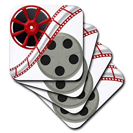 cst/_222687/_3 set of 4 Ceramic Tile Coasters 3dRose Two Movie Reels With Movie Tape Down The Middle Illustration