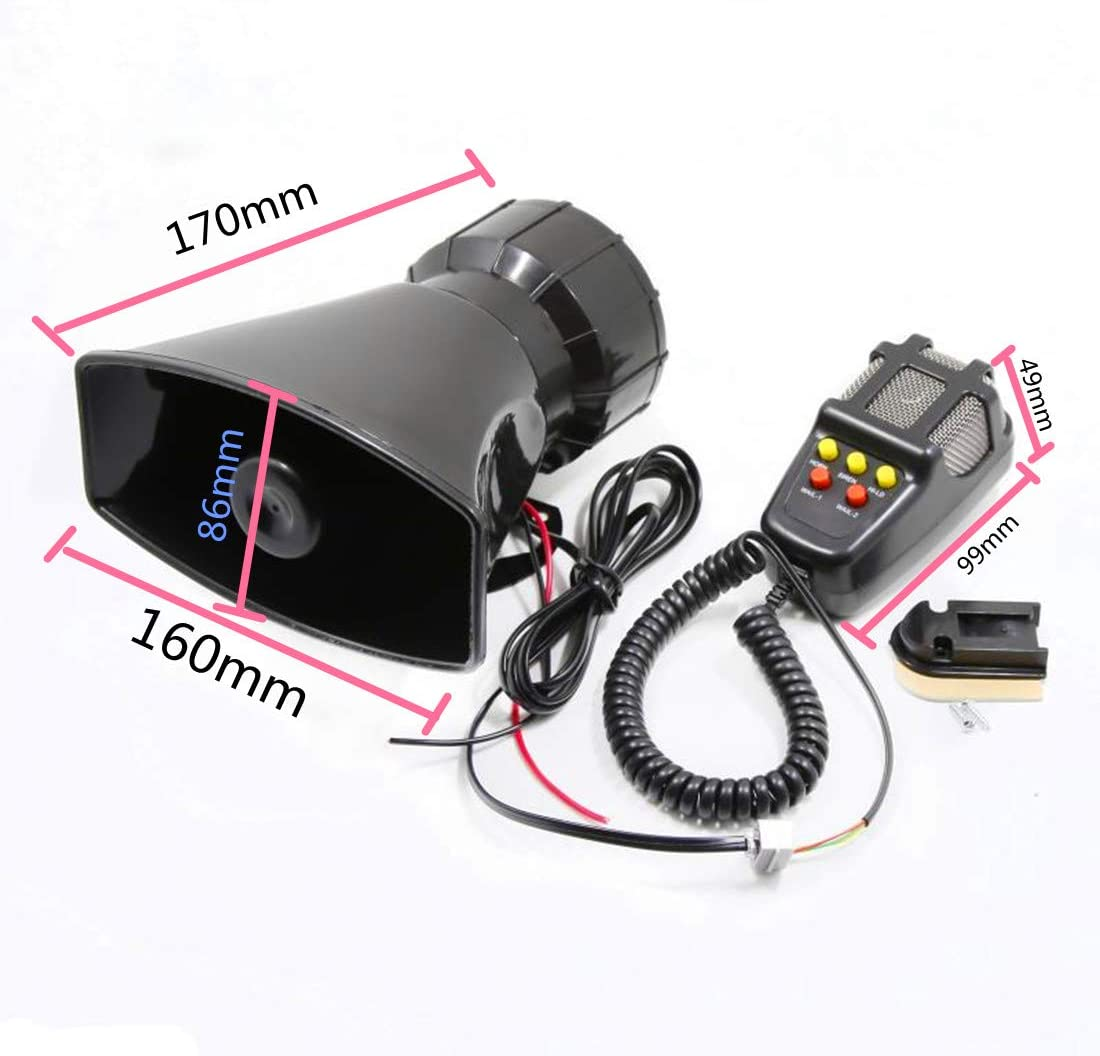 Car Siren Speaker Mega Horn Siren Alarm 12v 80w Car Siren Vehicle Horn With Microphone Speaker System Emergency Sound Amplifier Cars Vans Truck Auto