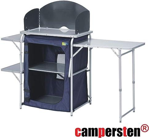 campersten Camping Cocina | Viaje Cocina | Plegable Estable Fácil | con Estantería y Protección contra el Viento