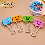 Medium Metal Paper Clips Assorted, Coideal 48 Pack Colored Binder Clips with Cute Lovely Hollow Smiling Face / Multi Color Photo File Paper Document Clip Clamp Organizer for Office Home (25mm)
