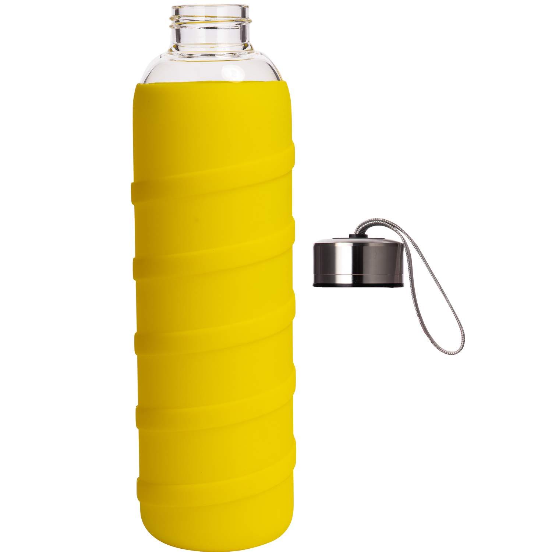 Ferexer Botella de Agua de Cristal Borosilicato con Funda de Silicona Sin BPA 480 ml 1000 ml