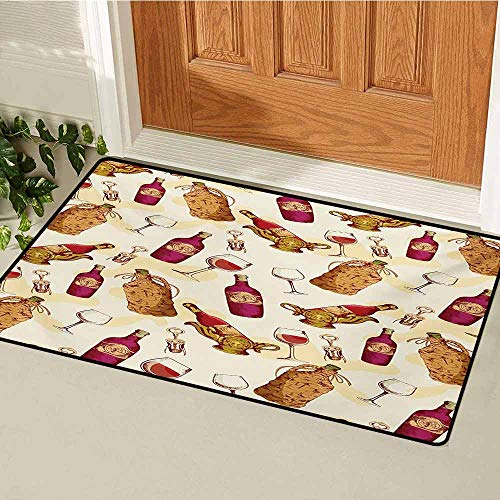 - GUUVOR Winery Front Door mat Carpet Vintage Pattern with Glass Bottle Corkscrew Country Restaurant Table Machine Washable Door mat W23.6 x L35.4 Inch Fuchsia Ruby Pale Brown