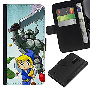 YiPhone /// Tirón de la caja Cartera de cuero con ranuras para tarjetas - Cartoon Guerrero - LG G3