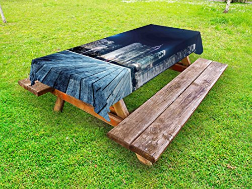 Lunarable Landscape Outdoor Tablecloth, Asia China Hong Kong City Skyline View at Blue Night Towers and Skyscapers Photo, Decorative Washable Picnic Table Cloth, 58