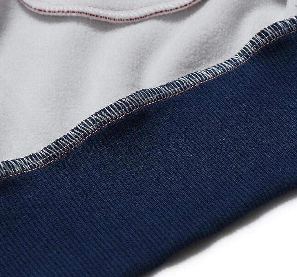 FSSE Men Regular Fit Color Block Faux Fur Lined Casual Sweatshirt Coat Jacket