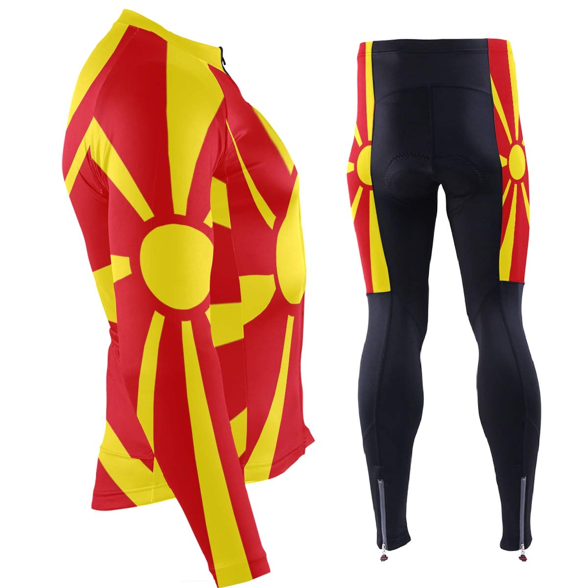 CHINEIN Mens Cycling Jersey Long Sleeve with 3 Rear Pockets Suit Macedonia Flag