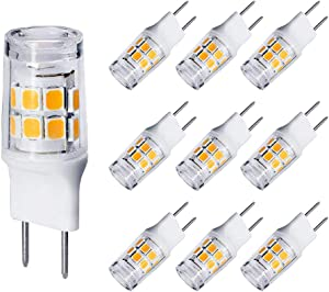 G8 3W T4 Flat Base Bi-Pin LED Bulb, 20W-25W Halogen Equivalent, Under Counter Kitchen Light, Under-Cabinet Light, Puck Light, GE Microwave Lamp Bulb Replacement, 110V-120V Warm White 3000K (10 Pack)