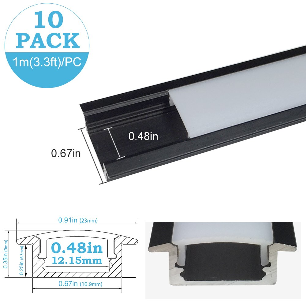 inShareplus U Shape LED Aluminum Channel System With Milk White Cover, End Caps and Mounting Clips, Aluminum Profile for LED Strip Light Installation, U01 Model, 10 Pack, 3.3ft/1 Meter, Black
