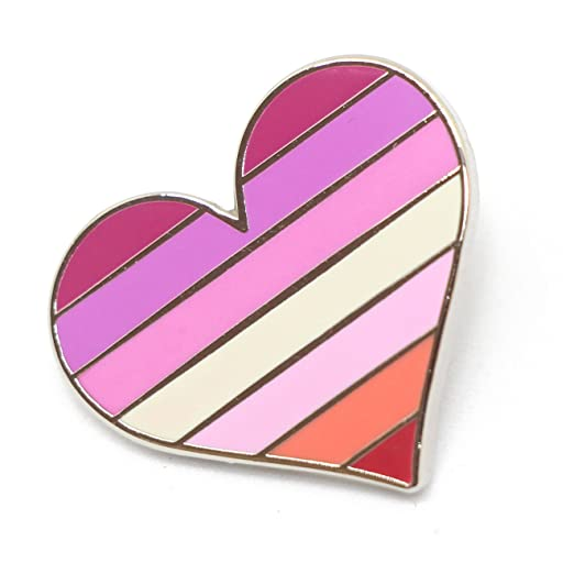 8e490d399dd Image Unavailable. Image not available for. Color: Compoco Lesbian Pride  Pin Flag LGBTQ Gay Heart Flag Lapel Pin