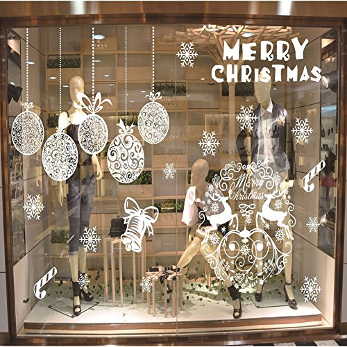 Christmas Window Decals Stickers Self-adhesive Decorative Glass Window Clings Party Decorations Supplies (fashion) (Clings Floor Christmas)