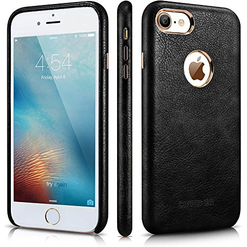 iPhone 7 Leather Case - iPhone 7 Case for Leather - Premium PU Leather Case Best Vintage Cellphone Protective Back Cover – Luxury Ultra Slim Thin Fit Phone Faux Leather Case for Apple iPhone 7 (Black Leather Iphone Case)