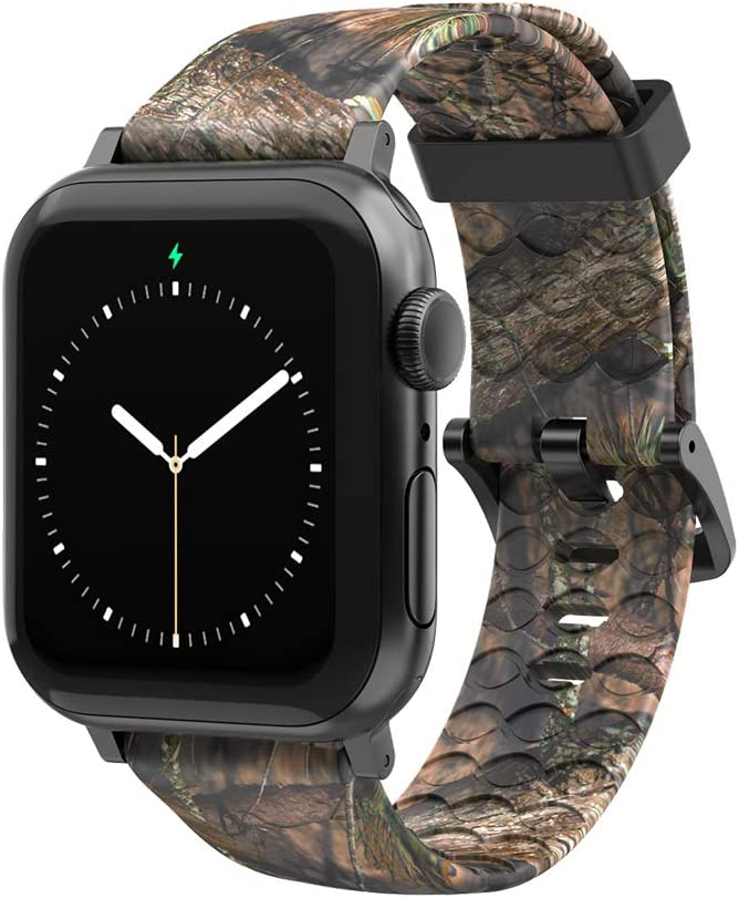 Mossy Oak Breakup Country Camo Watch Band by Groove Life - Compatible with Apple Watch 38mm 40mm 42mm 44mm, Breathable Silicone Bands for Men Series 5 4 3 2 1 - Wide Long Space Grey