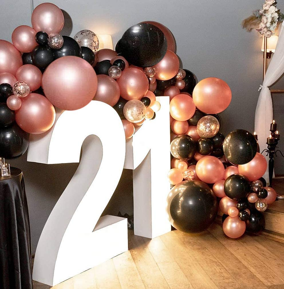 Rose Gold Balloon Garland Arch Kit 70pcs Black and Rose Gold Confetti Latex Balloon with Glue Dots Curling Ribbon Party Balloon for Bridal Shower Birthday Party Backdrop Decorations.