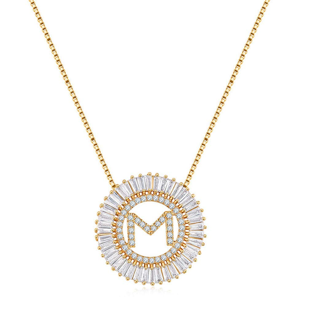 OCTCHOCO Alphabet Pendant Necklace Gold Tone Cubic Zirconia Letter Charm Necklace Choker for Women Girls Gift