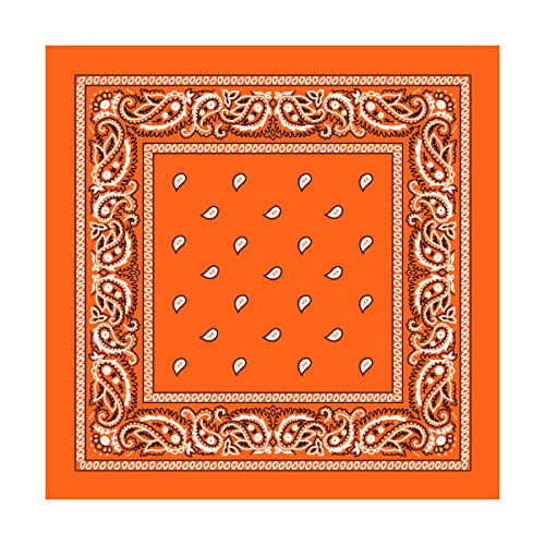 Orange Paisley Bandana - 3pcs