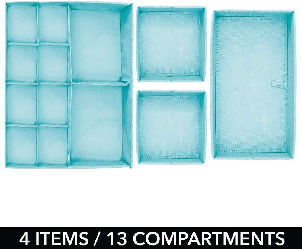 mDesign Juego de 4 Cajas organizadoras Gris Topo//Crudo Cestas de Tela para almacenaje en cajones de Diferentes tama/ños Organizadores para armarios para Guardar Calcetines Ropa Interior y m/ás