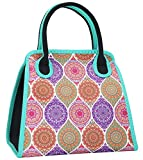 QOGiR Reusable Insulated Neoprene Lunch Bag Tote Purse Boxes-The Unique Design of National Style for Women Girls and Teen Girls (White Round)