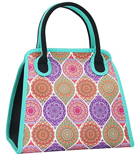 Insulated Neoprene Lunch Bag Tote Purse for Women,Girls,Teen Girls-Outdoor,Working or School Lunch-Washable,Resuable and Durable-the National Style-Large 14