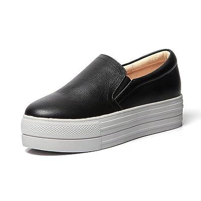 0e265a52605 PP FASHION Women s Korean Style Platform Casual Loafer Shoes Fashion Pumps Sneakers  Black 4.5