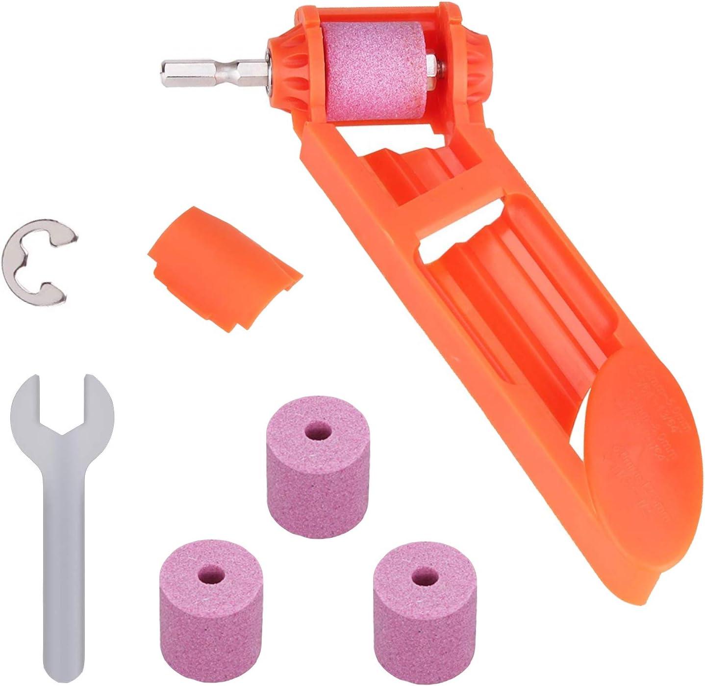 Drill Bit Sharpener Portable Diamond Drill Bit Sharpening Tool Corundum Grinding Wheel for Iron-based Drill Bits Fit Width Range-Orange