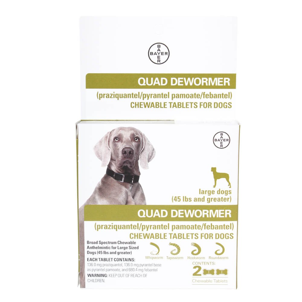 Bayer 136mg Large 45 lb + Dog 2 count Quad Chewable Dewormer