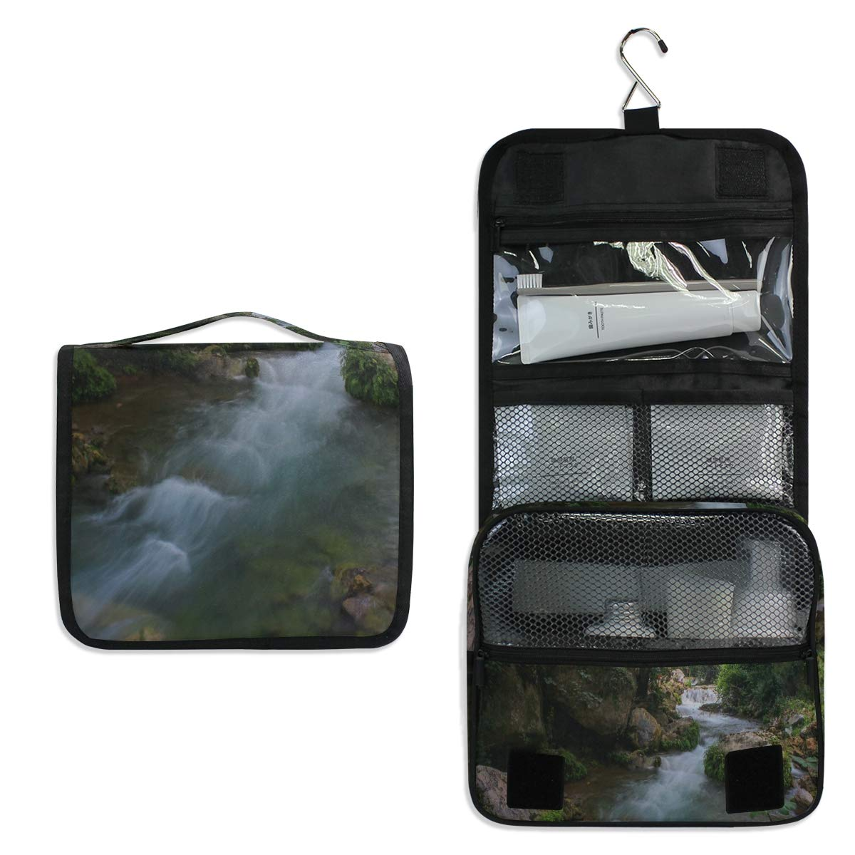Makeup Bag Cascade Creek Environment Toiletry Bag Travel Cosmetic Organizer Waterproof Wash Bag for Men Women