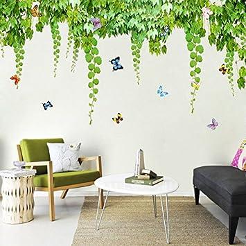 Bomeautify Creative Vert Feuilles De Vigne Stickers Muraux