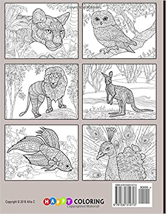 Creative Animals Coloring Book For Adults Delicate