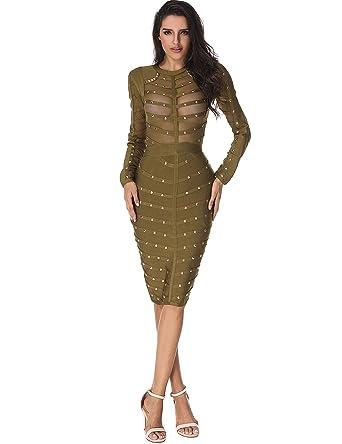Adyce Bandage-Dress Ropa vestido de mujer sexy fasciante venda vestidos XS nocturno (puro