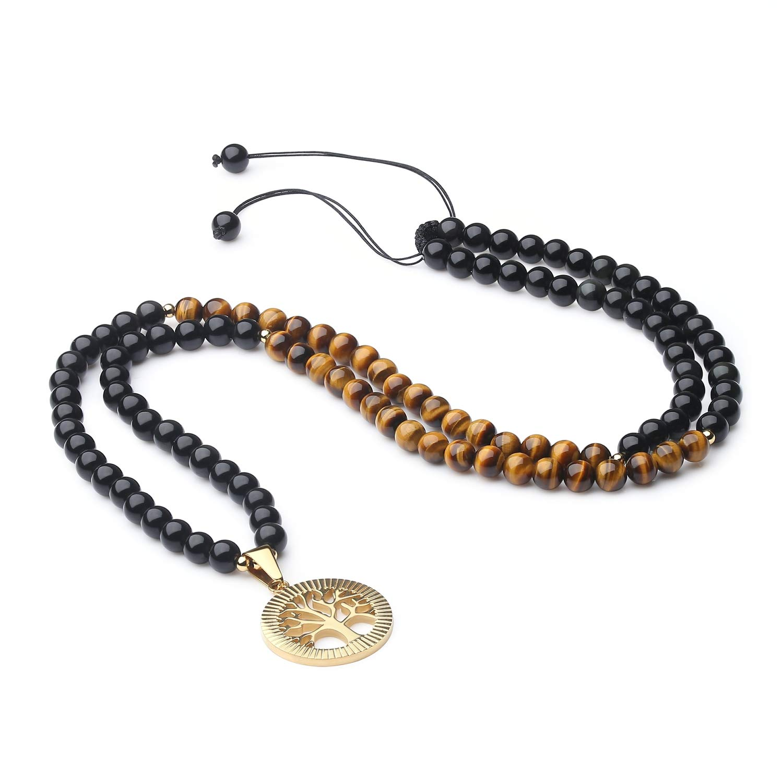 COAI Tree of Life Pendant Tiger Eye Obsidian Stone 108 Beads Mala Necklace by COAI