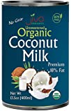 Organic Coconut Milk 13.5 Ounce (Pack of 12) Premium - Unsweetened, FULL 18% Fat, Vegan, Paleo, No Guar Gum, BPA Free…