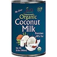 Organic Coconut Milk 13.5 Oz (Pack Of 12) Premium - Unsweetened, Full 18% Fat, Vegan, Paleo, No Guar Gum, Bpa Free, Keto Friendly - By Jiva Organics