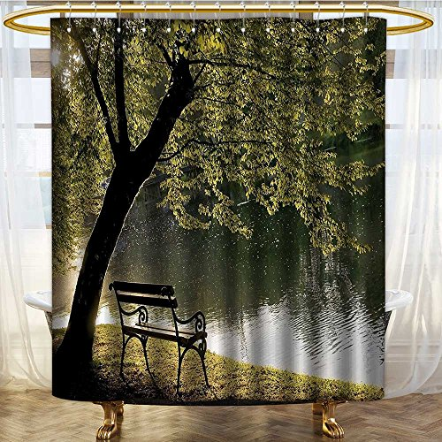 NALAHOMEQQ Farm House Decor Shower Curtain Set By Bench Under Timber Tree By Riverside Epic Countryside Rural Relaxing Resting Space Scenery Bathroom Accessories Green(60