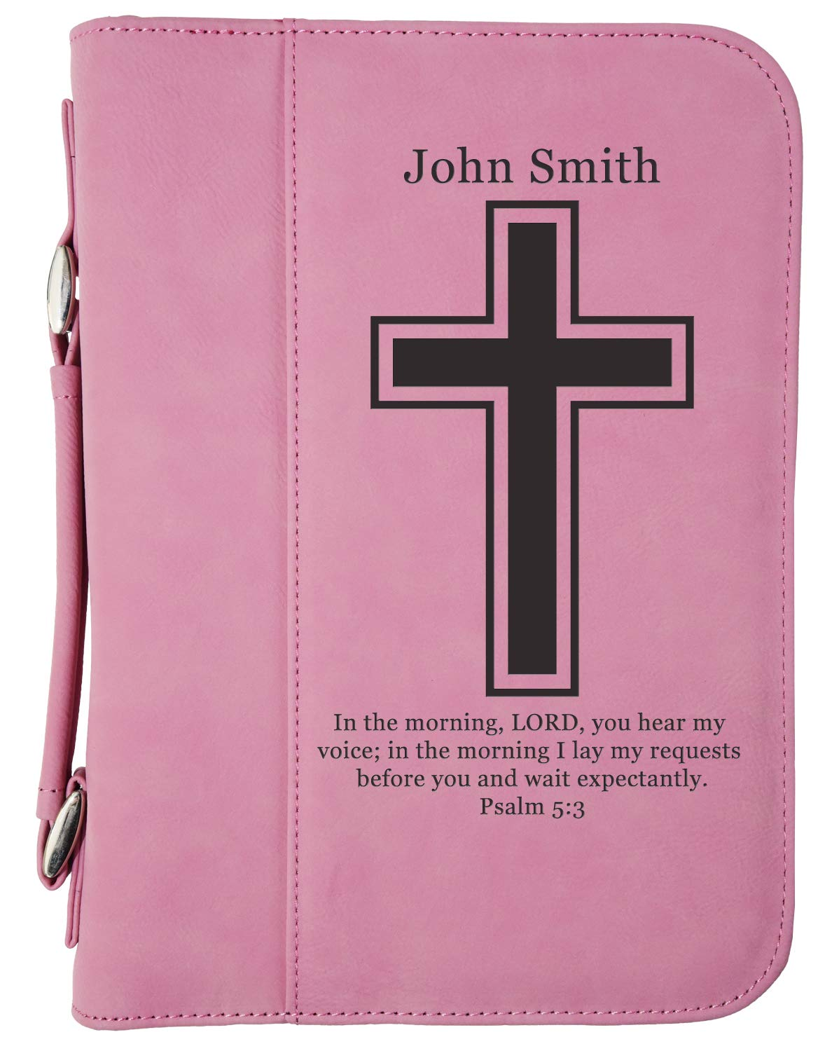 Custom Book/Bible Cover | Personalized Laser Engraved | Pink with Cross | 7 1/2'' x 10 3/4''