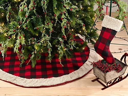 """Fennco Styles Buffalo Plaid with Sherpa Border Tree Skirt 56"""" Round - Red Tree Skirt for Home, Christmas Tree, Holiday Decoration and Special Events"""