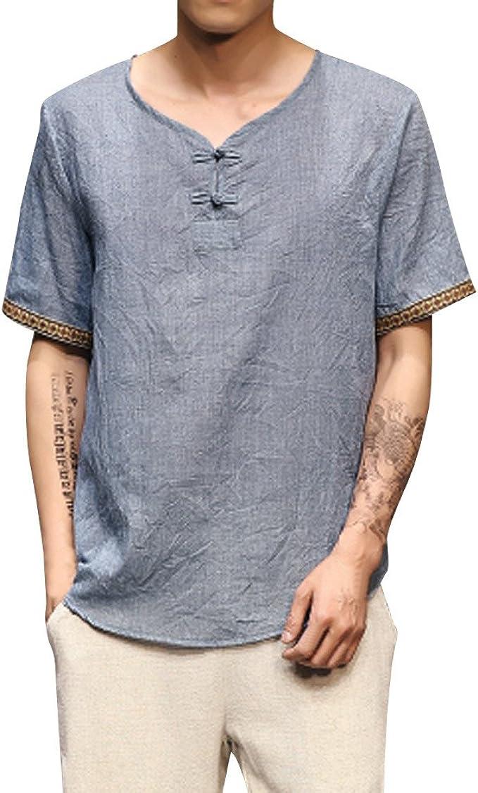 Uomo Camicia Spiaggia Cotone Lino Maglietta Camicetta Festa Colore Solido